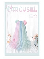 Carousel Half Mint and Half Pink Long Wavy Synthetic Wig With Bangs by Alice Garden
