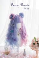 Bunny Bonnie Half Pink and Half Purple Long Wavy Synthetic Wig With Bangs by Alice Garden