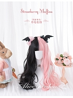Strawberry Muffins Half Black and Half Pink Long Wavy Synthetic Wig With Bangs by Alice Garden