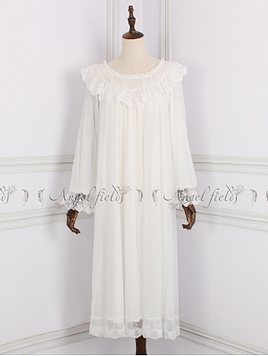 Lace Flounce Round Neckline Princess Vintage Pajama by Angel fields