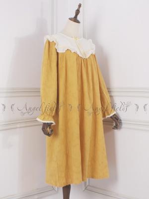 Yellow Long Sleeves Vintage Pajama Dress by Angel fields