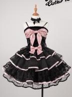 Kitty II Big Bowknot front Cami Top / Tiered Flounce Lolita Skirt