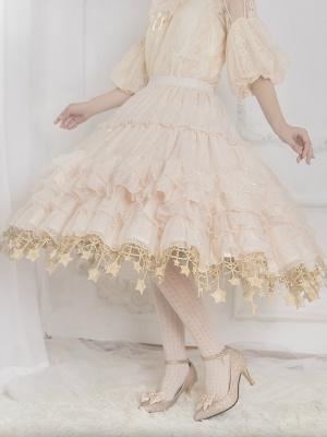 [DevilInspired Special] Ready to Ship Layered Flounce Stars Hemline Petticoat Ivory by Boguta