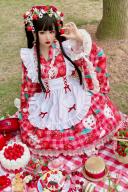 Sweet Strawberry Two Pieces Wa Lolita Full Set by Diamond Honey