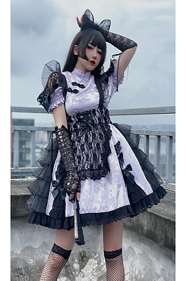 Qi Lolita Cat Cheongsam Collar OP by Diamond Honey