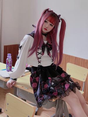 Hot Girl Dark Sweet JK Set Sailor Collar Top / Skirt by Diamond Honey