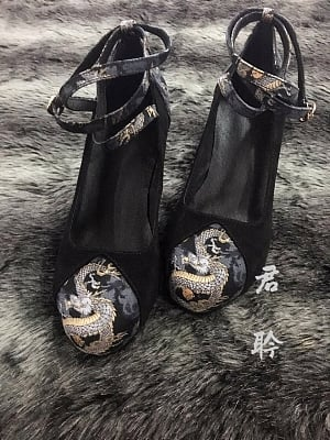 Dragon Crossed Ankle Straps High Heels by Jun Ling