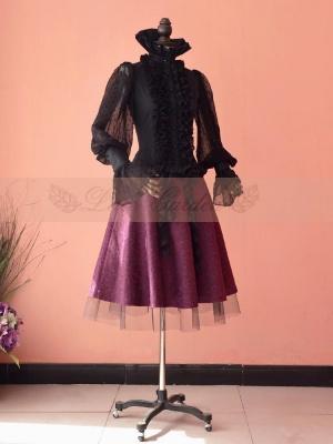 Elegant Jacquard Weave Fuchsia Color Gauze Hemline Full Skirt by Lace Garden