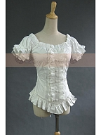 ON SALE-Victorian Gothic Punk Puff Sleeves Top Shirt Pleated Blouse by Lace Garden