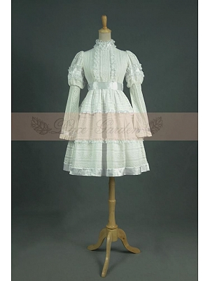 Vintage Royal Princess Ruffled Standing Collar White Dress by Lace Garden