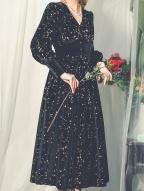 Starry Night Vintage Velvet Dress by Miss Egg
