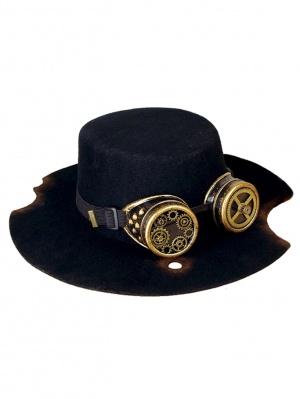 Wool Black Flat Hat Steampunk Lolita Hat by Mr. Yi's Steamland