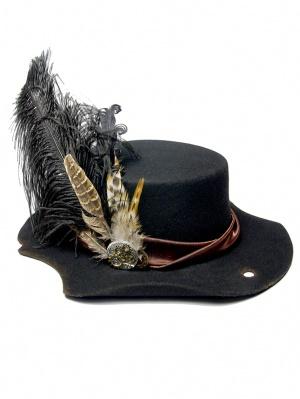 Black Pirate Robin Hood Feather Hat Steampunk Lolita Hat by Mr. Yi's Steamland