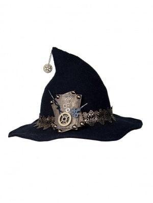 Halloween Black Curved Brim Knitted Woolen Lolita Witch Hat by Mr. Yi's Steamland