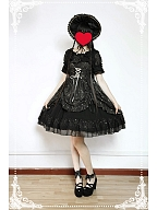 Custom Size Available Lace Up and Shirring Back JSK with Detachable Bows - Asian Impressions by Souffle Song