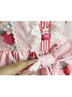 Strawberry Prints Long Sleeves OP By Souffle Song