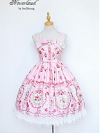 Custom Size Available Strawberry Prints Square Neckline Bowknot Decorated JSK By Souffle Song