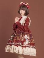 Crown Bear Wine Red Long Sleeves Lolita Dress OP by OCELOT