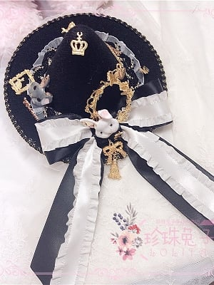 Gorgeous Picture Frame Bunny Handmade Lolita Witch Hat by Pearl Bunny