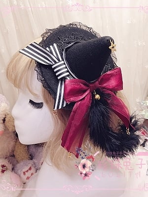 Striped Bowknot Kitty Bell Handmade Lolita Witch Hat by Pearl Bunny