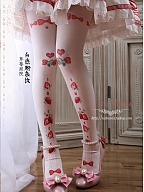 Strawberry Garden Printing with AP Pick Strawberries Pantyhose by Red Maria Lolita