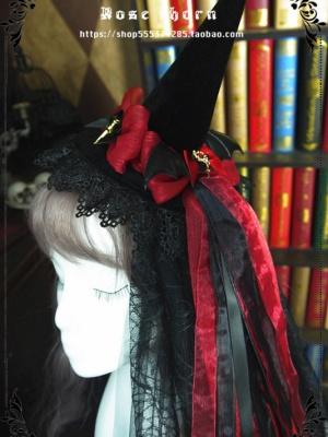 Bats Cross Halloween Velvet Witch Hat by Rose Thorn