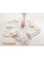 Frilled Square Neckline Star-Shaped Trumpet Sleeve Blouse by Sentaro