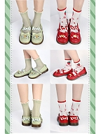 Bear Decoration Flat-heel Shoes Red and Light Green Color by Sheep Puff