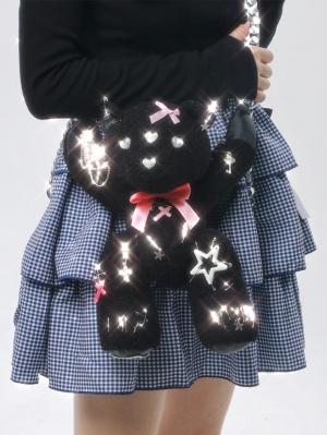 Black Teddy Gothic Lolita Metal Chain Bag by SOS MEME CLUB