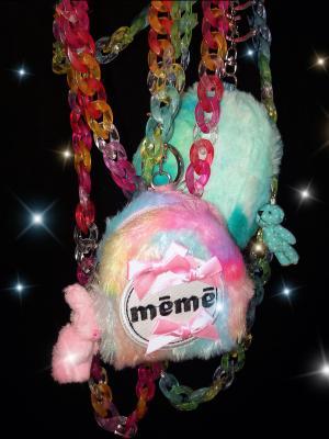 Shiny Pink Gothic Lolita Shaggy Mini Bag by SOS MEME CLUB