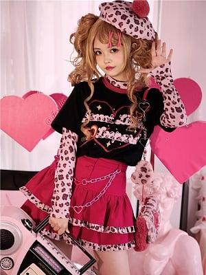 Sweet Little Leopard Y2K Hot Girl Harajuku Style Punk Skirt Set SK / T-shirt by To Alice