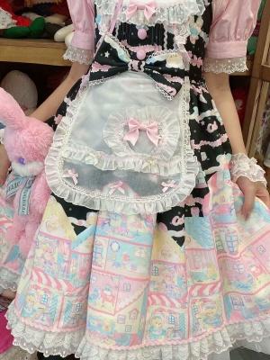 Ready to Ship - Rainbow Doll House Lolita Dress Matching Apron / Wristcuffs