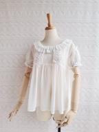 Sweet Chiffon Lace Short Sleeves Blouse by Yilia Lolita