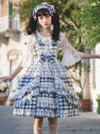Sweet Cotton Plaid Lolita Dress JSK by Yilia Lolita