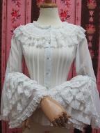 Trumpet Sleeves Chiffon Lolita Shirt by Yilia Lolita