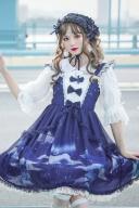 Deep Sea Dark Blue Whale Prints Lolita JSK - Whale's Dream by ZhiJinYuan