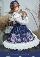 Bowknots Decorated Open Front Skirt Lolita JSK - Cat & Hydrangea by ZhiJinYuan