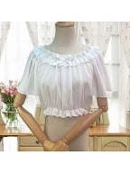 Off the Shoulder Flowy Short Sleeves Cropped Blouse by ZhiJinYuan