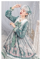 Floral Printed Long Sleeves Peter Pan Collar Lolita OP - Flowers Blossoming by ZhiJinYuan