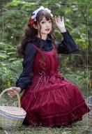 Lace Decorated Bodice Dress Hemline JSK - Little Red Riding Hood by ZhiJinYuan
