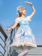 Blue Summer Chiffon Lolita JSK - Whale's Castle by ZhiJinYuan