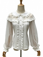 Lace Sleeves and Shoulders Lolita Shirt - Sago by ZhiJinYuan