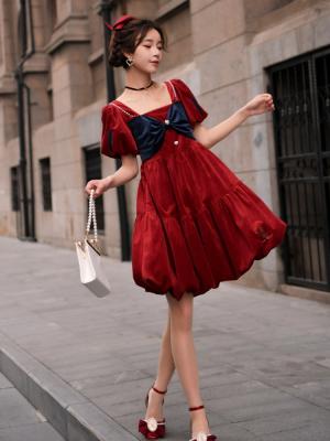 Disney Authorized Snow White Square Neckline Tiered Wine Red Dress