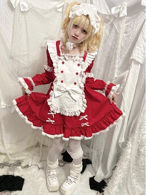 Softness of Winter and Night Maid Square Neckline Long Sleeves Lolita Dress OP