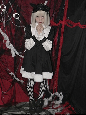 Imprisoned Pure Nun Stand Collar Long Sleeves Gothic Lolita Dress OP