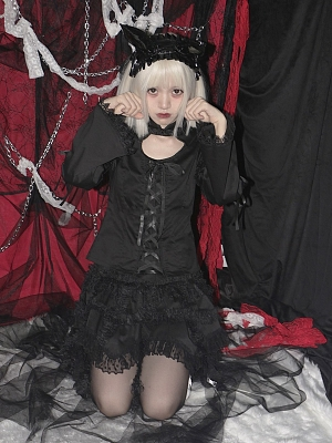 Gothic Stand Collar Long Sleeves Lace-up Lolita Shirt