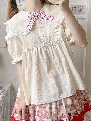 JK Bunny Ears Short Puff Sleeves Sweet Lolita Blouse by Advertising Balloon