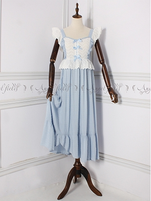 Vintage Sweet Ruffled Bowknot Decorative Nightgown by Angel fields