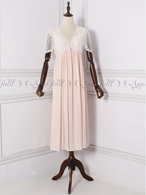 Vintage V-neck Short Sleeves Nightgown by Angel fields