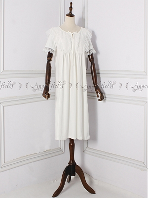 Vintgae Sweet Round Neckline Short Sleeves Ruffled Nightgown by Angel fields